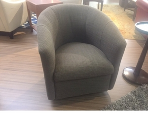 A835 Swivel Chair by Natuzzi in Grey Fabric