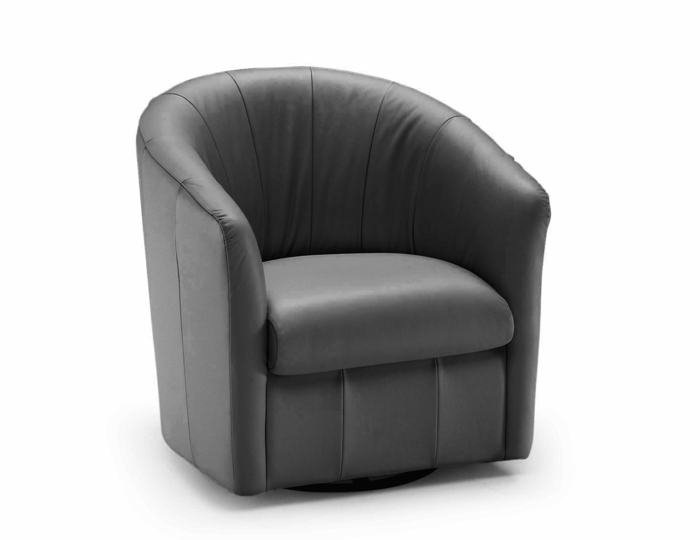 A835 Swivel Chair in Madison Black Leather by Natuzzi