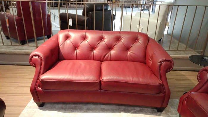 B520 Natuzzi Button Tufted Loveseat in Red Leather