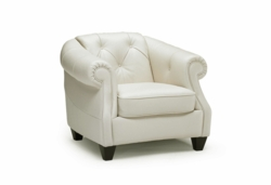 B520 Tufted Chair in Light Beige Leather by Natuzzi