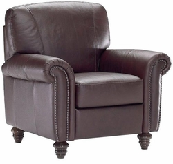 B557 233 15WC Leather Chair with Nailheads by Natuzzi