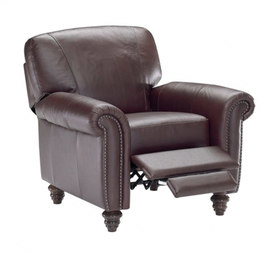 B557 Leather Recliner by Natuzzi with Nailhead option
