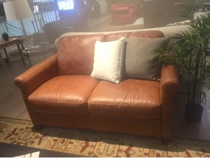 B580 Natuzzi Loveseat in Natural Brown Leather