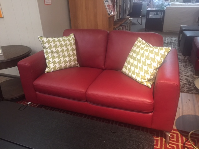B845 Natuzzi Loveseat with Red Leather and Metal Legs