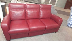 B938 Natuzzi Electric Reclining Sofa in Red Leather
