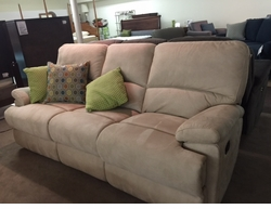 Bassett Reclining Sofa in Sand Fabric