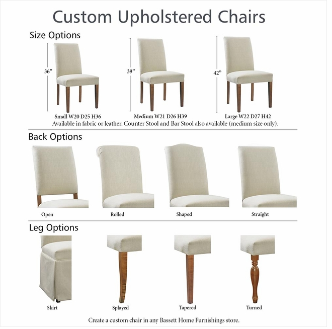 Bassett upholstered dining arm chair dining chairs for Dining chair dimensions