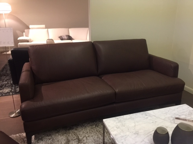 Brown Leather Apartment Size Sofa