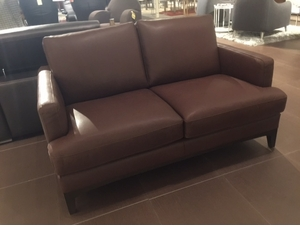 B970 Natuzzi Brown Leather Loveseat