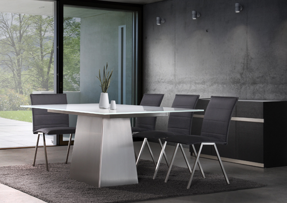 Brushed Steel Base Modern Dining Table