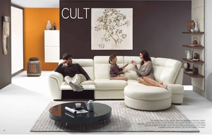 Cult Sectional Leather Sofa by Natuzzi Italia