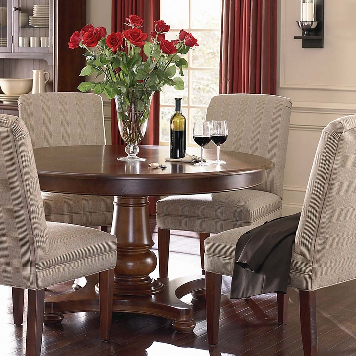 Custom 54 Quot Round Pedestal Dining Table Bassett Furniture