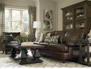 Custom Montague Leather Great Room Sofa by Bassett
