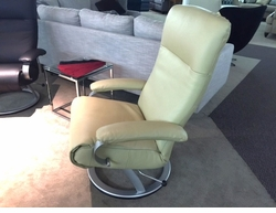 Elegant Modern Reclining Chair in Cream Color Leather