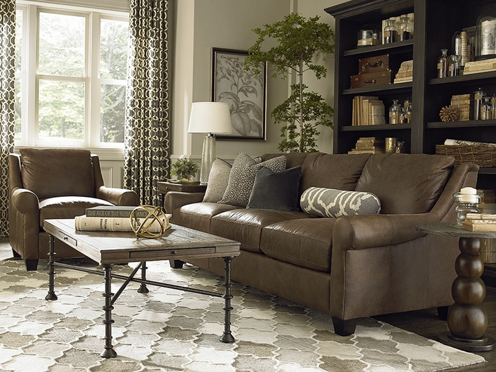Ellery Custom Leather Great Room Sofa By Bassett Leather Furniture