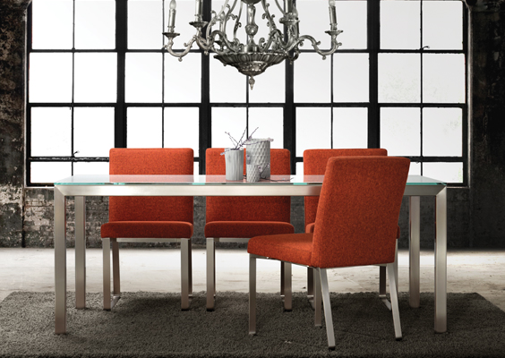 Frosted Glass Top Modern Dining Table