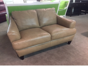 Leather Loveseat in Taupe