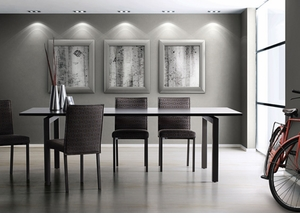 Modern Dining Table with 2 Self Storing Leaves