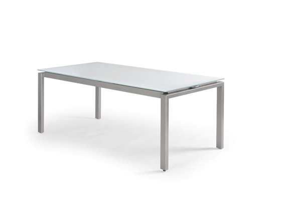 Modern Dining Table with Frosted Glass Top