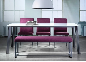 Modern Glass Top Dining Table with Angle Legs