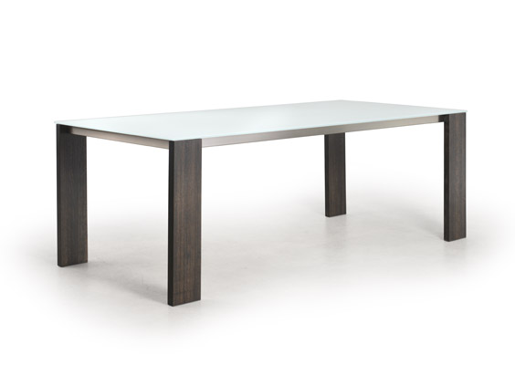 Modern Glass Top Dining Table with Wood Legs