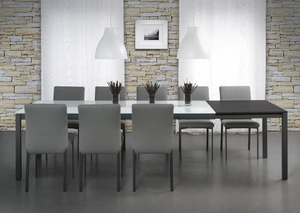 Modern Wood and Glass Top Dining Table