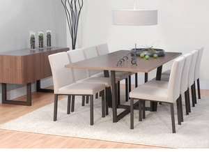 Modern Wood Top Dining Table with Metal Base