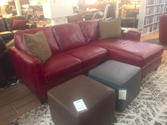 Natuzzi B591 Sectional in Red Leather