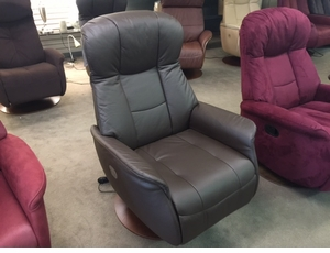 Norwegian Coffee Leather Swivel Recliner