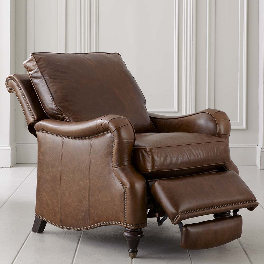 Oxford Leather Recliner With English Arm Bassett Chairs