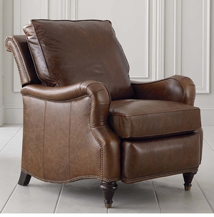 Oxford Leather Recliner with English Arm