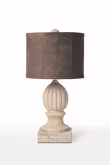 pair of concrete finial lamps with shades