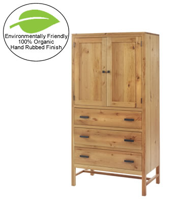 Amish Solid Cherry Armoire with Organic Hand-rubbed Finish