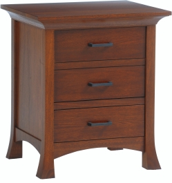 Solid Wood Amish Made 3 Drawer Nightstand