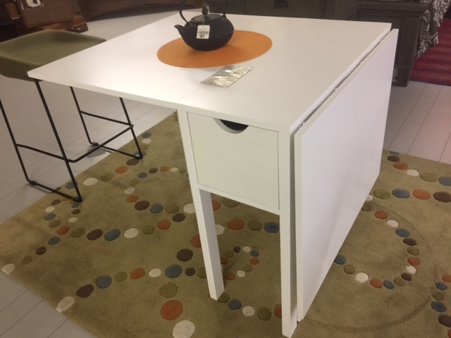 White Drop Leaf Table