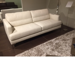 B985 White Leather Sofa with Quilting by Natuzzi