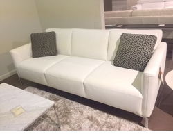 White top grain leather sofa with contrast stitch