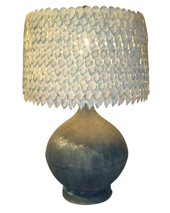 zinc vessel lamp with metal petal shade
