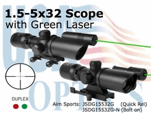 1.5-5x32, w/ Green Laser/ QR MT ONLY