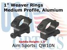 "1"" WEAVER RINGS/1 SCREW-MEDIUM"