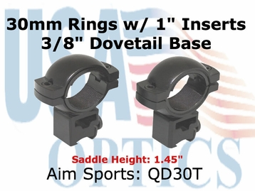 "30MM RINGS 3/8"" DOVETAIL/1"" INSERT-HIGH"