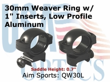 "30MM RINGS WEAVER/1"" INSERT-LOW"