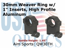"30MM WEAVER RINGS/1"" INSERT (HEAVY DUTY) HIGH"