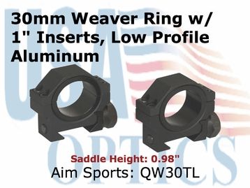 "30MM WEAVER RINGS/1"" INSERT (HEAVY DUTY) LOW"