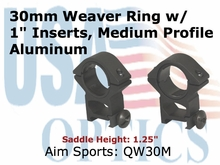 "30MM WEAVER RINGS/1"" INSERT-MEDIUM"