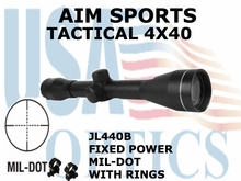 AIM SPORTS TACTICAL 4X40 FIXED POWER WITH RINGS