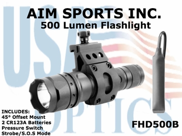 AIM SPORTS 500 LUMEN FLASHLIGHT W/ 45&#176 OFFSET MOUNT