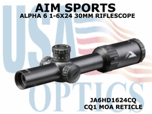 AIM SPORTS ALPHA 6 1-6X24 30MM RIFLESCOPE W/ CQ1 MOA RETICLE
