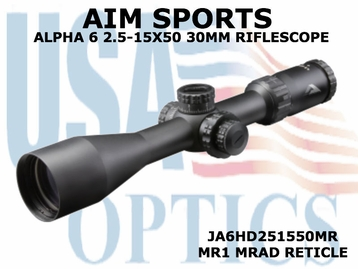 AIM SPORTS ALPHA 6 2.5-15X50 30MM RIFLESCOPE W/ MR1 MRAD RETICLE