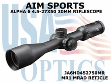 AIM SPORTS ALPHA 6 4.5-27X50 30MM RIFLESCOPE W/ MR1 MRAD RETICLE